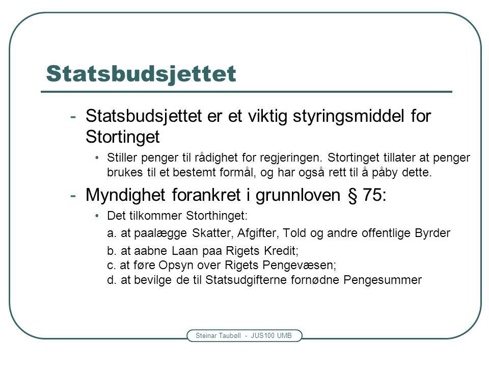 Steinar Taubøll - JUS100 UMB Statsbudsjettet -Statsbudsjettet er et viktig styringsmiddel for Stortinget •Stiller penger til rådighet for regjeringen.