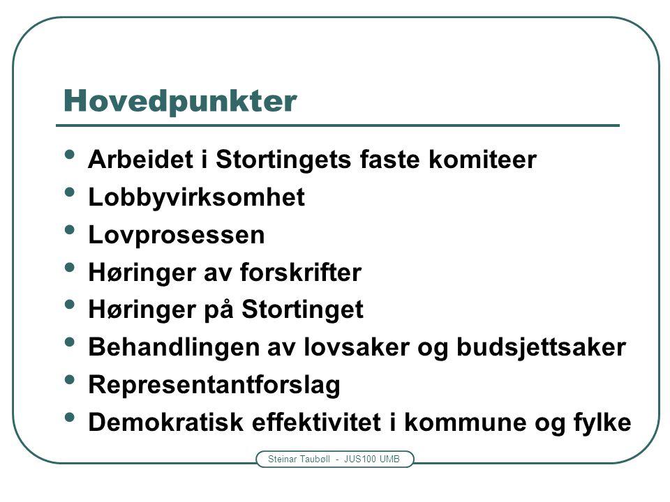 Steinar Taubøll - JUS100 UMB Hovedpunkter • Arbeidet i Stortingets faste komiteer • Lobbyvirksomhet • Lovprosessen • Høringer av forskrifter • Høringe