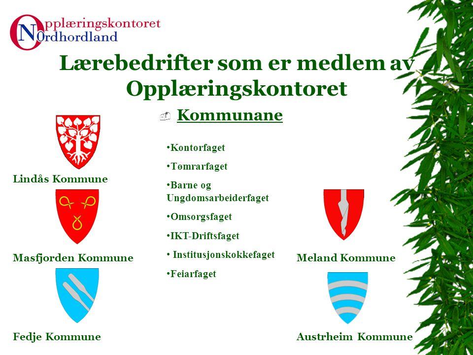 Lærebedrifter som er medlem av Opplæringskontoret  Kommunane Lindås Kommune Masfjorden KommuneMeland Kommune Fedje Kommune •Kontorfaget •Tømrarfaget