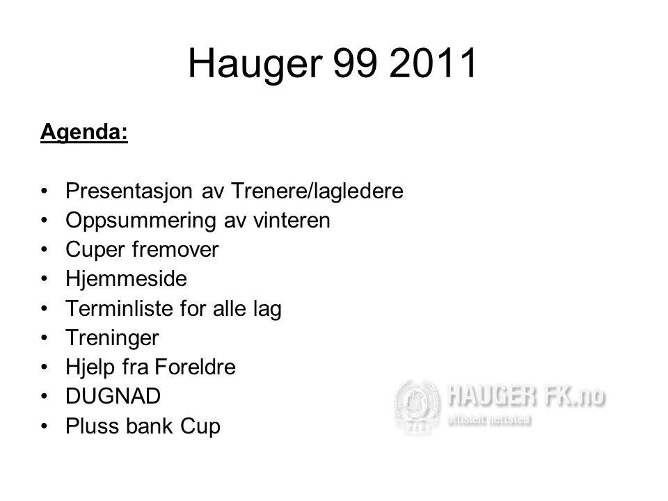 Hauger 99 2011 Agenda: •Presentasjon av Trenere/lagledere •Oppsummering av vinteren •Cuper fremover •Hjemmeside •Terminliste for alle lag •Treninger •Hjelp fra Foreldre •DUGNAD •Pluss bank Cup