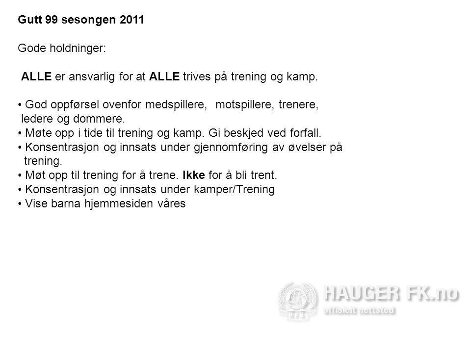 Gutt 99 sesongen 2011 Gode holdninger: ALLE er ansvarlig for at ALLE trives på trening og kamp.