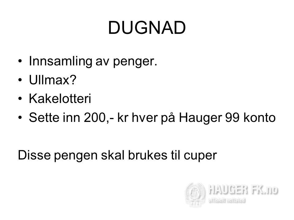 DUGNAD •Innsamling av penger.•Ullmax.