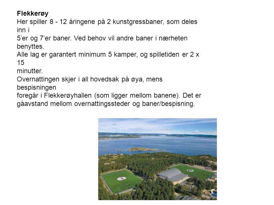 Flekkerøy Her spiller 8 - 12 åringene på 2 kunstgressbaner, som deles inn i 5'er og 7'er baner.