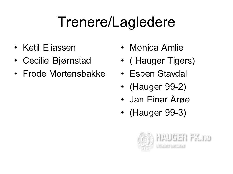 Trenere/Lagledere •Ketil Eliassen •Cecilie Bjørnstad •Frode Mortensbakke •Monica Amlie •( Hauger Tigers) •Espen Stavdal •(Hauger 99-2) •Jan Einar Årøe •(Hauger 99-3)