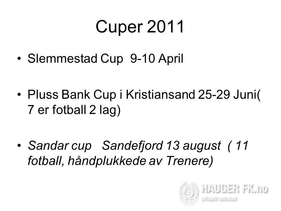 Cuper 2011 •Slemmestad Cup 9-10 April •Pluss Bank Cup i Kristiansand 25-29 Juni( 7 er fotball 2 lag) •Sandar cup Sandefjord 13 august ( 11 fotball, håndplukkede av Trenere)