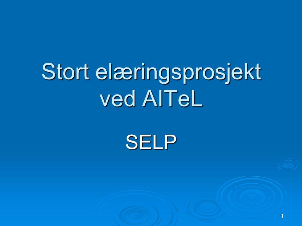 2 SELP = 5 delprosjekt  Erfaringsbasert e-læring  Læring på arbeidsplassen  Lærestoff  Kvalitetsreformen – Utvikling av metoder og verktøy som støtter læring  Test og evaluering av sanntids konferanseløsninger basert på IP-telefoni