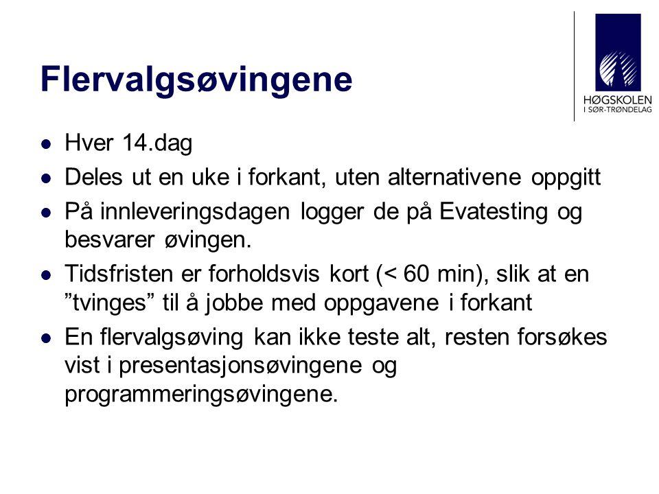 Presentasjonsøvingene  Hver 14.dag  Øvingene deles ut ca.