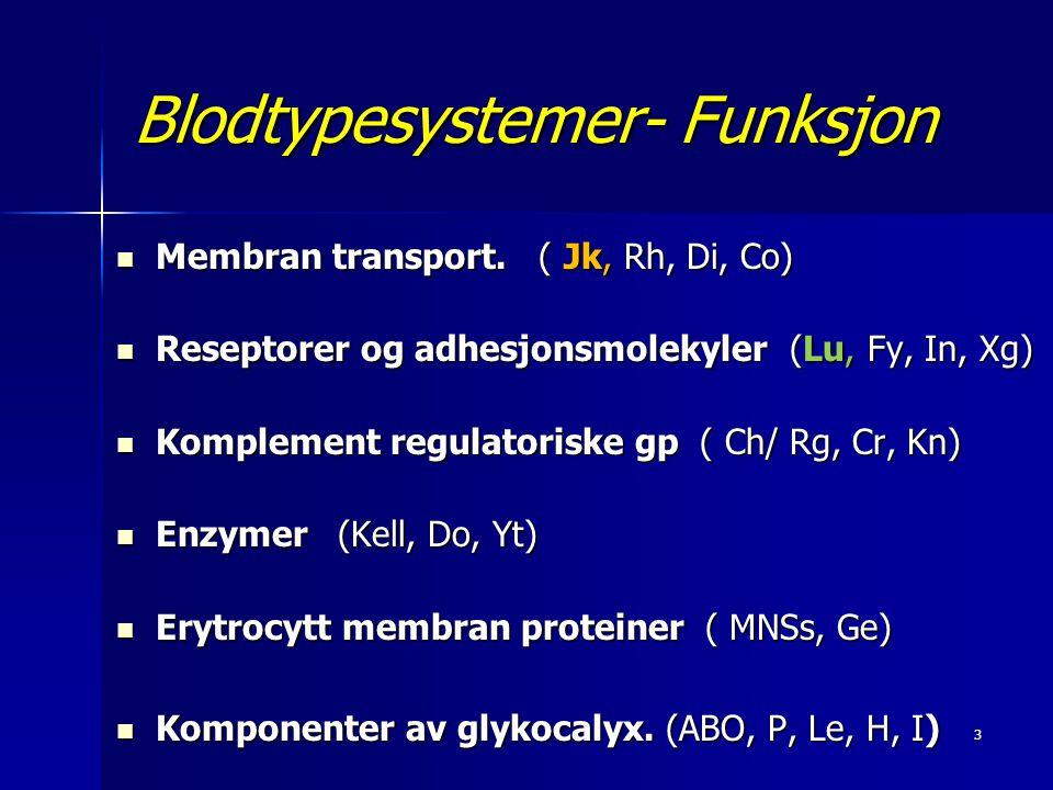 14 Kidd antistoffer Klinisk betydning  Kan føre til alvorlig HTR, ofte forsinket TR, men også som akutt HTR.
