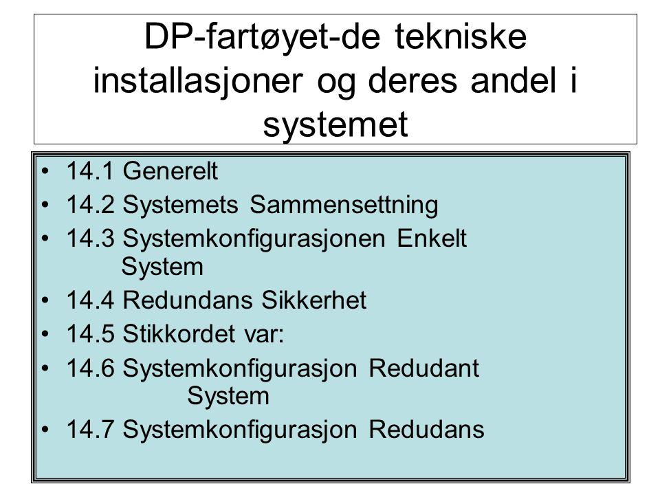Per R. Bodin DP-fartøyet-de tekniske installasjoner og deres andel i systemet •14.1 Generelt •14.2 Systemets Sammensettning •14.3 Systemkonfigurasjone