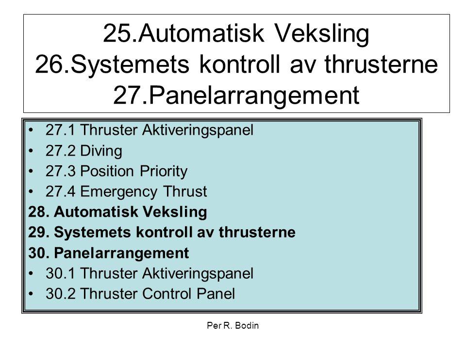 Per R. Bodin 25.Automatisk Veksling 26.Systemets kontroll av thrusterne 27.Panelarrangement •27.1 Thruster Aktiveringspanel •27.2 Diving •27.3 Positio