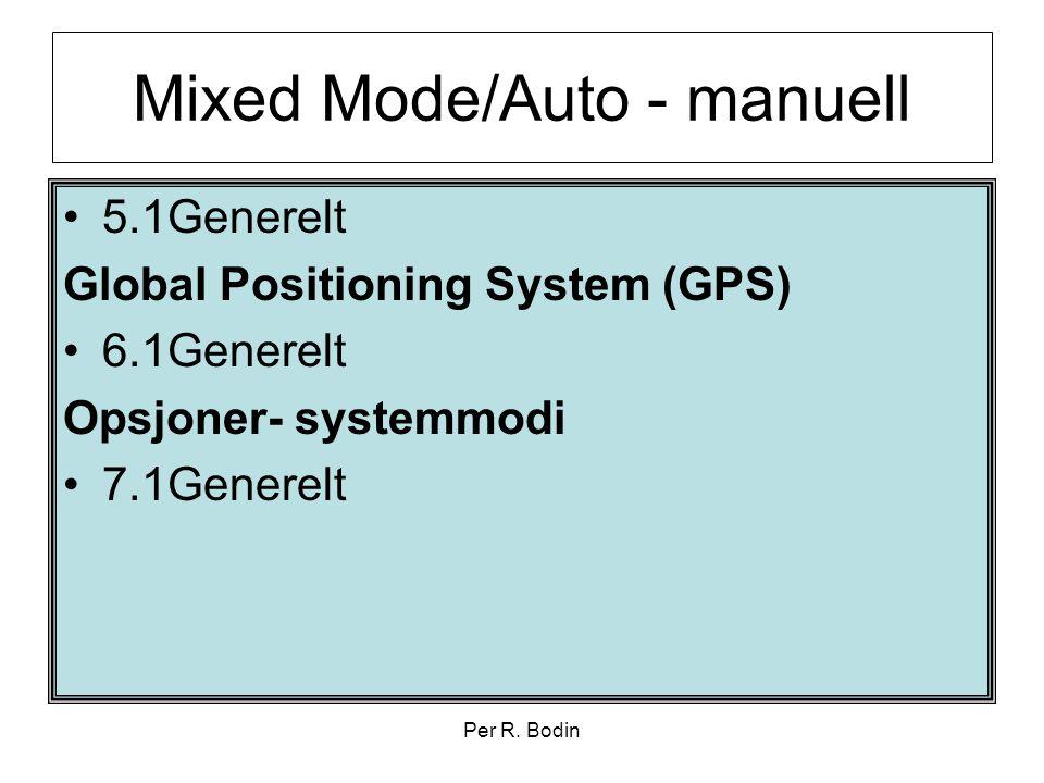 Per R. Bodin Mixed Mode/Auto - manuell •5.1Generelt Global Positioning System (GPS) •6.1Generelt Opsjoner- systemmodi •7.1Generelt