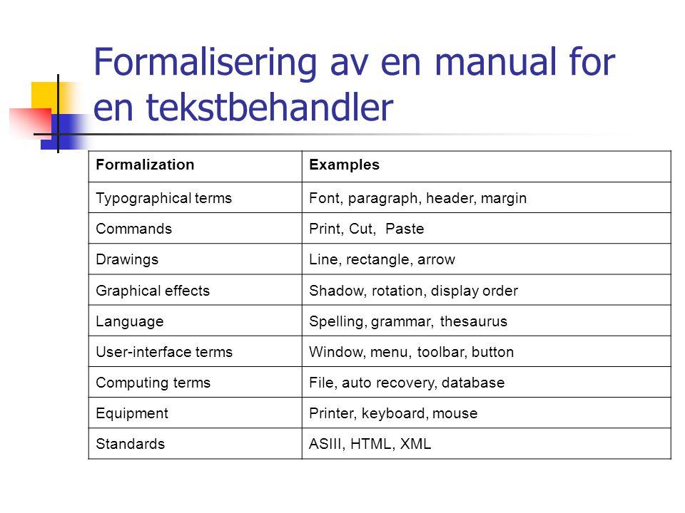 Formalisering av en manual for en tekstbehandler FormalizationExamples Typographical termsFont, paragraph, header, margin CommandsPrint, Cut, Paste Dr