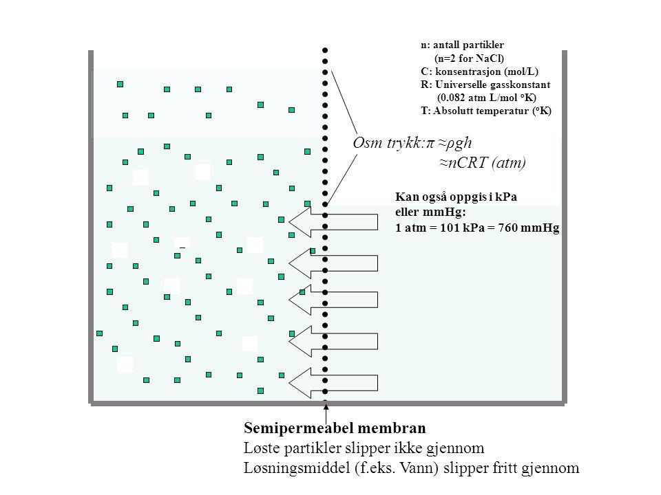 Molaritet (osmolaritet) Mol/L ferdig løsning Temperatur-avhengig Molalitet (osmolalitet) Mol/kg løsningsmiddel Temperatur-uavhengig Avviket er lite fo
