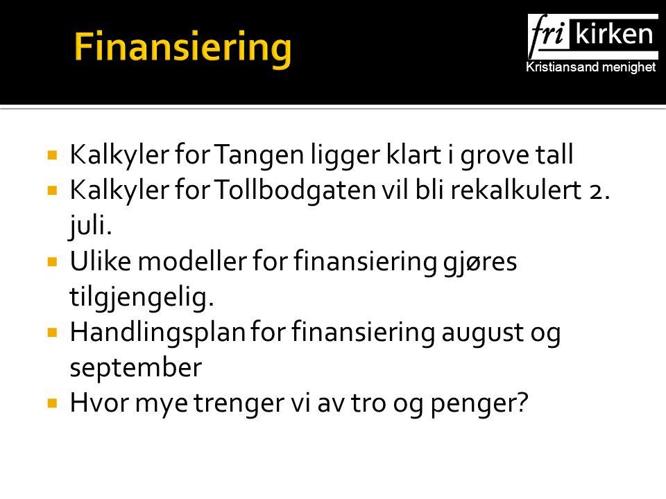 Kristiansand menighet Finansiering  Kalkyler for Tangen ligger klart i grove tall  Kalkyler for Tollbodgaten vil bli rekalkulert 2.