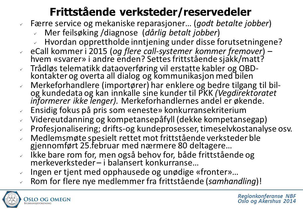 Regionkonferanse NBF Oslo og Akershus 2014  Færre service og mekaniske reparasjoner… (godt betalte jobber)  Mer feilsøking /diagnose (dårlig betalt
