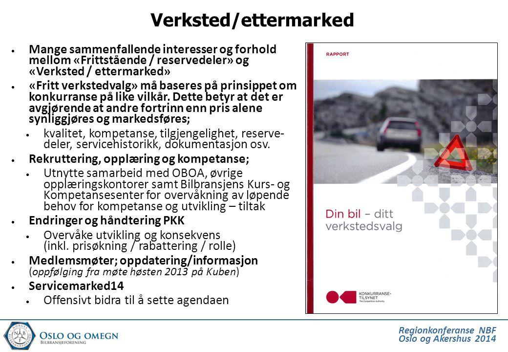 Regionkonferanse NBF Oslo og Akershus 2014  Mange sammenfallende interesser og forhold mellom «Frittstående / reservedeler» og «Verksted / ettermarke