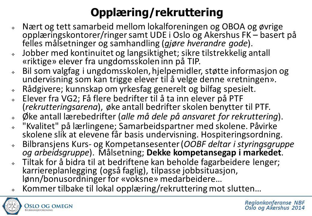 Regionkonferanse NBF Oslo og Akershus 2014  Nært og tett samarbeid mellom lokalforeningen og OBOA og øvrige opplæringskontorer/ringer samt UDE i Oslo