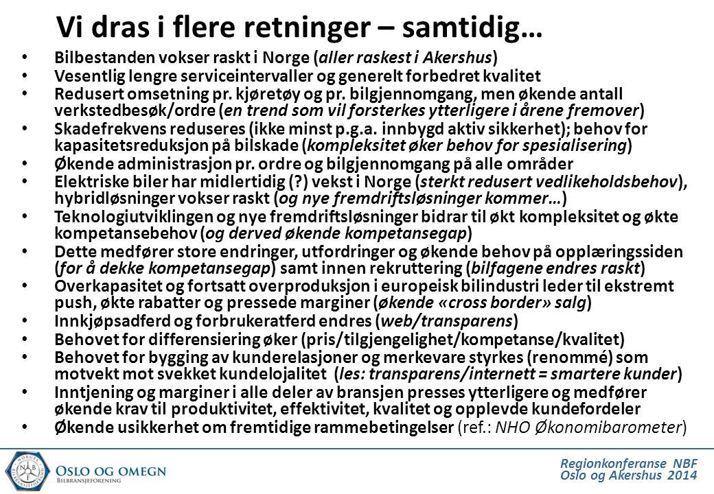 • Bilbestanden vokser raskt i Norge (aller raskest i Akershus) • Vesentlig lengre serviceintervaller og generelt forbedret kvalitet • Redusert omsetni