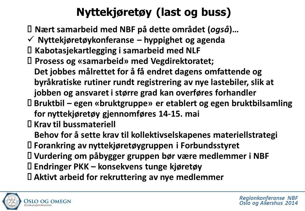 Regionkonferanse NBF Oslo og Akershus 2014  Nært samarbeid med NBF på dette området (også)…  Nyttekjøretøykonferanse – hyppighet og agenda  Kabotas