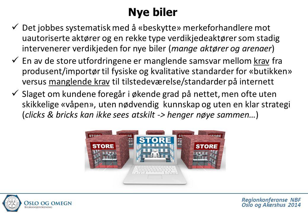 Regionkonferanse NBF Oslo og Akershus 2014  Norske restverdinivåer kombinert med overproduksjon (og ekstreme rabatter) i Europa (og Norge) gir i sum en rekke utfordringer i Norge; Nye biler på hjemmemarkedet skal konkurrere mot «nye» (en-dags registrerte) bruktimporterte biler til en til dels mye lavere pris  «Snikmarkedsføring» av nye biler på Finn.no – og stadige soloutspill fra enkeltaktører – gir uheldige konsekvenser for hele markedet og påvirker oss på en rekke områder  Når vi har fått «presset» restverdier ned på et «levelig» nivå benyttes rabatter og rentesubsidier for å holde privatleie nede på et urimelig lavt nivå (hvilket presser priser på nyere bruktbiler ned)  Allikevel ser vi nye biler (selv introduksjonsmodeller med lang leveringstid) markedsført på leasing med mer enn 70 % restverdi på 3 år / 45.000 km.