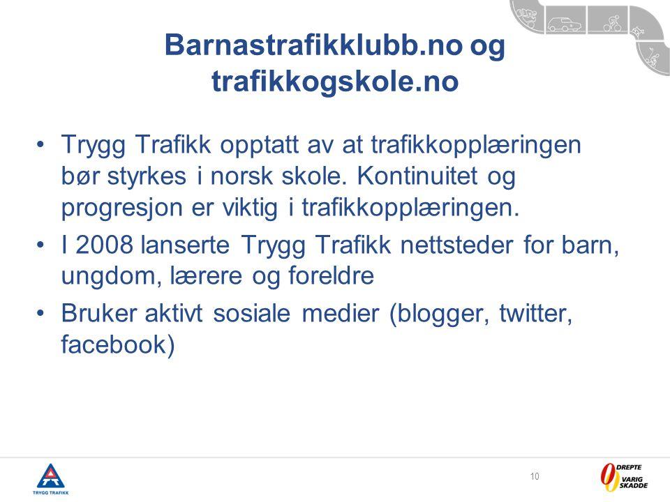 10 Barnastrafikklubb.no og trafikkogskole.no •Trygg Trafikk opptatt av at trafikkopplæringen bør styrkes i norsk skole.
