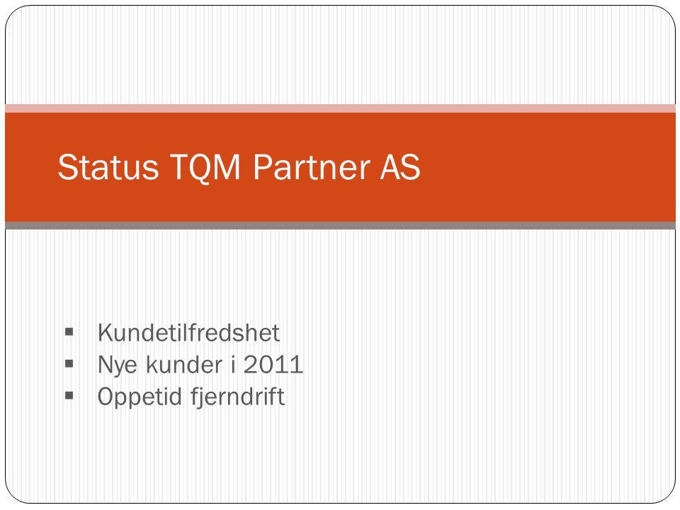 Status TQM Partner AS  Kundetilfredshet  Nye kunder i 2011  Oppetid fjerndrift