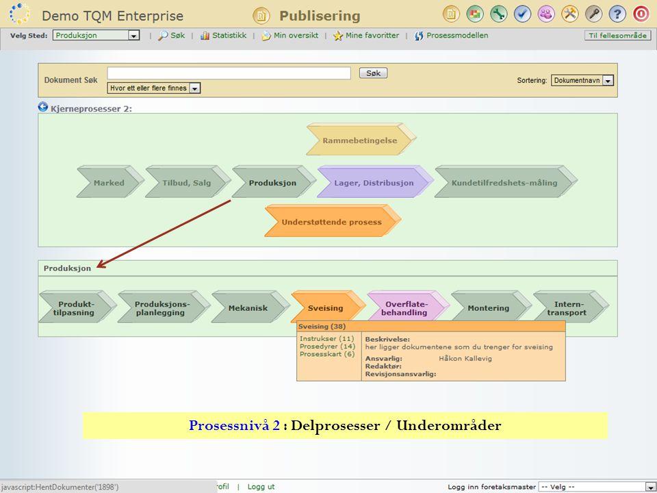 Prosessnivå 2 : Delprosesser / Underområder