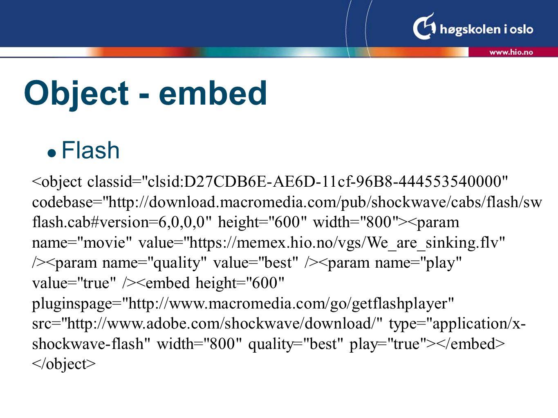 Object - embed  QuickTime/mpeg 4 progressive nedlesning