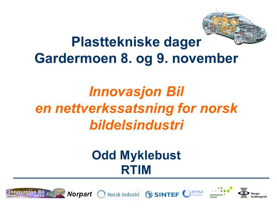 Norpart Plasttekniske dager Gardermoen 8. og 9. november Innovasjon Bil en nettverkssatsning for norsk bildelsindustri Odd Myklebust RTIM