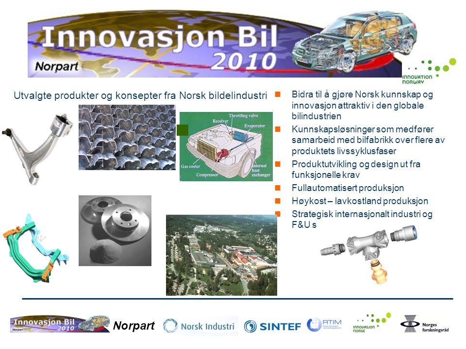 Norpart  Bidra til å gjøre Norsk kunnskap og innovasjon attraktiv i den globale bilindustrien  Kunnskapsløsninger som medfører samarbeid med bilfabr