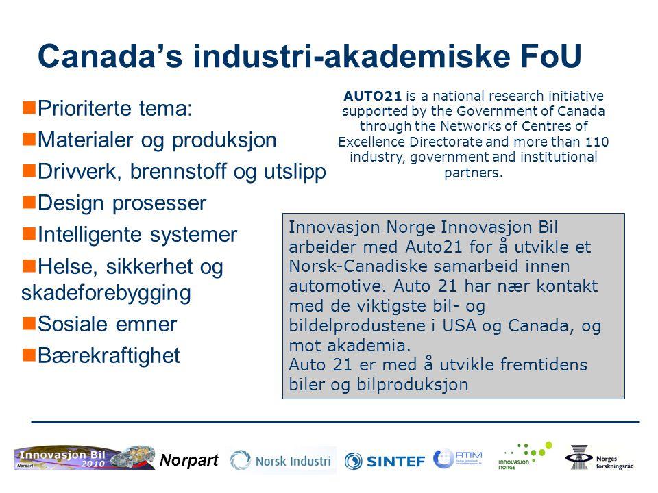 Norpart Canada's industri-akademiske FoU  Prioriterte tema:  Materialer og produksjon  Drivverk, brennstoff og utslipp  Design prosesser  Intelli