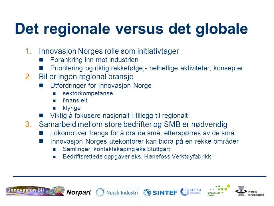 Norpart Det regionale versus det globale 1.Innovasjon Norges rolle som initiativtager  Forankring inn mot industrien  Prioritering og riktig rekkefø