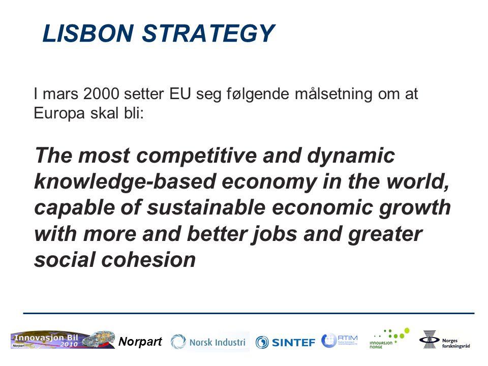 LISBON STRATEGY I mars 2000 setter EU seg følgende målsetning om at Europa skal bli: The most competitive and dynamic knowledge-based economy in the w
