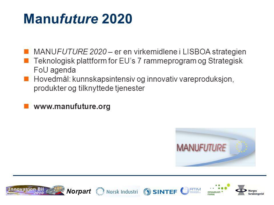 Norpart Manufuture 2020  MANUFUTURE 2020 – er en virkemidlene i LISBOA strategien  Teknologisk plattform for EU's 7 rammeprogram og Strategisk FoU a