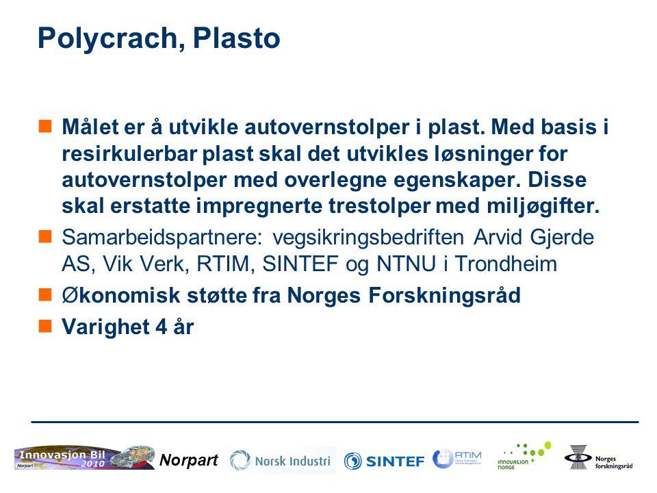 Norpart Polycrach, Plasto  Målet er å utvikle autovernstolper i plast. Med basis i resirkulerbar plast skal det utvikles løsninger for autovernstolpe