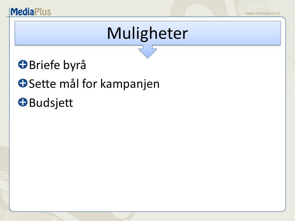 Briefe byrå Sette mål for kampanjen Budsjett Muligheter