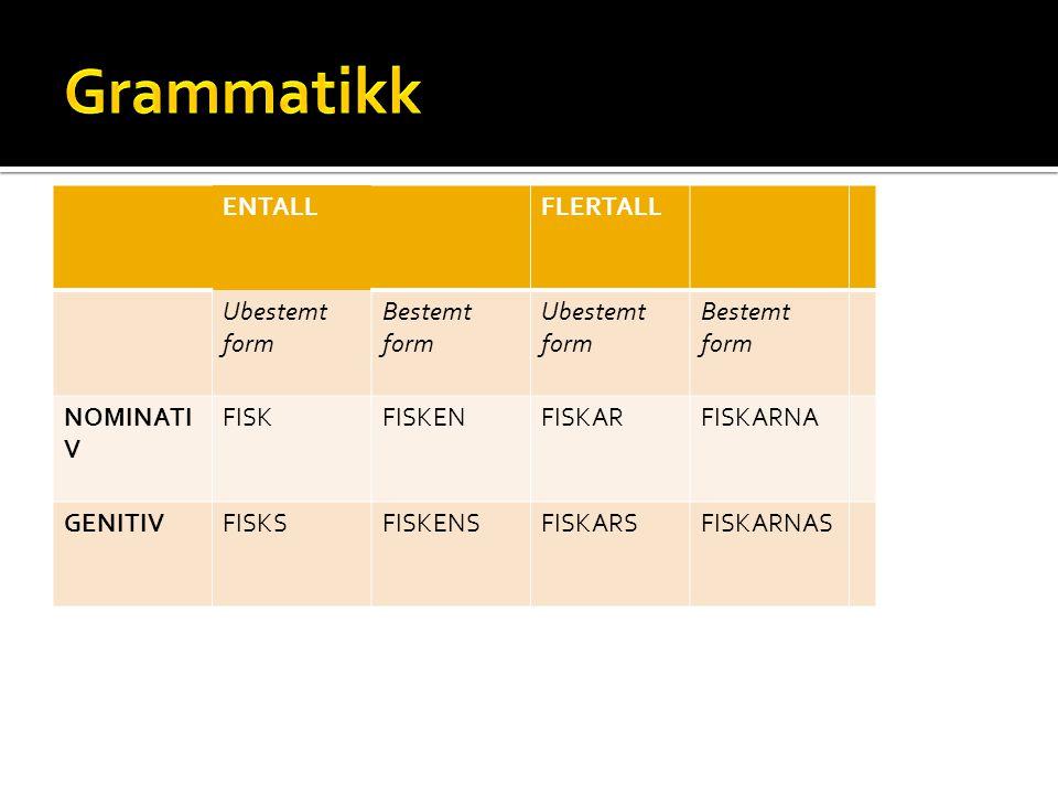 ENTALLFLERTALL Ubestemt form Bestemt form Ubestemt form Bestemt form NOMINATI V FISKFISKENFISKARFISKARNA GENITIVFISKSFISKENSFISKARSFISKARNAS
