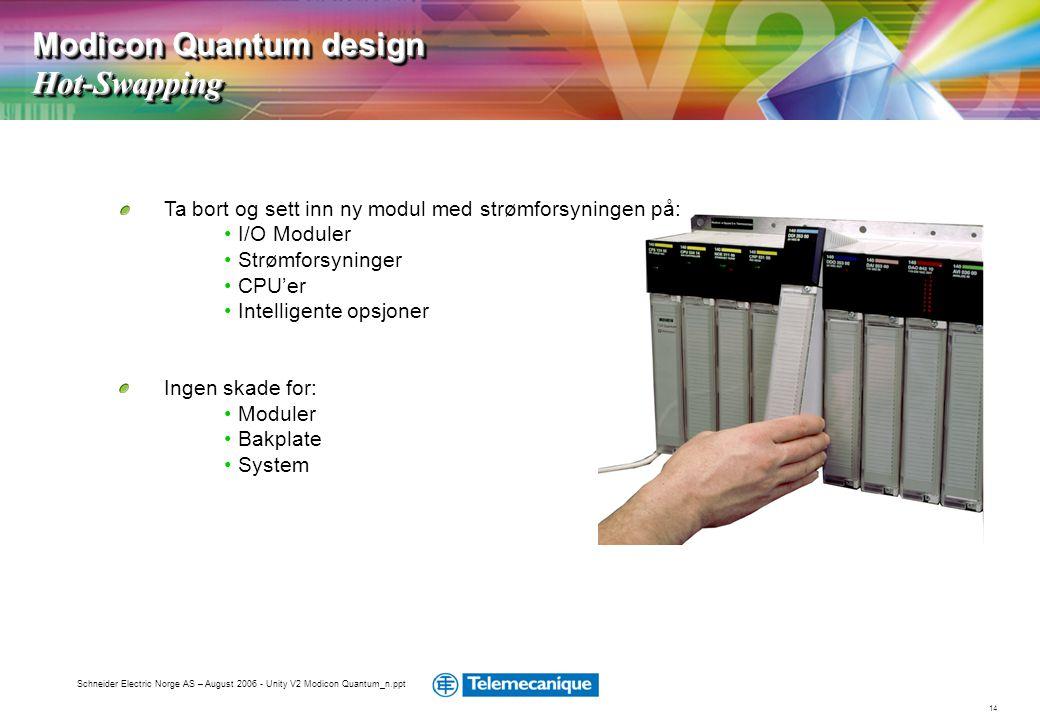 14 Schneider Electric Norge AS – August 2006 - Unity V2 Modicon Quantum_n.ppt Ta bort og sett inn ny modul med strømforsyningen på: • I/O Moduler • St