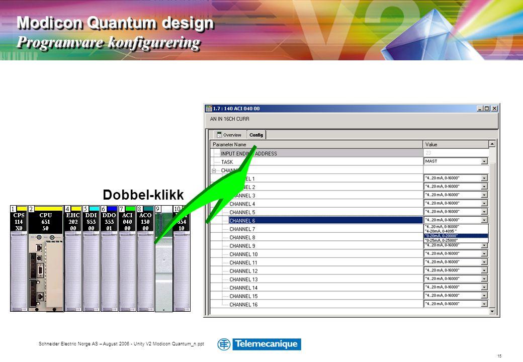 15 Schneider Electric Norge AS – August 2006 - Unity V2 Modicon Quantum_n.ppt Dobbel-klikk Modicon Quantum design Programvare konfigurering