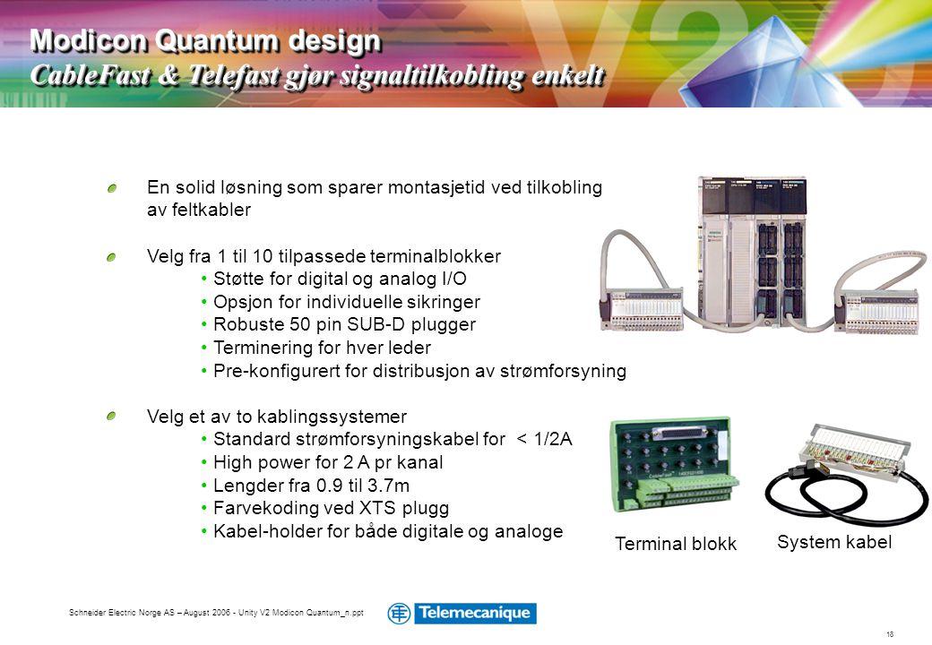18 Schneider Electric Norge AS – August 2006 - Unity V2 Modicon Quantum_n.ppt En solid løsning som sparer montasjetid ved tilkobling av feltkabler Vel