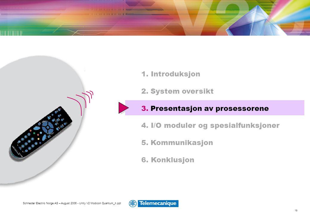 19 Schneider Electric Norge AS – August 2006 - Unity V2 Modicon Quantum_n.ppt 1. Introduksjon 2. System oversikt 3. Presentasjon av prosessorene 4. I/