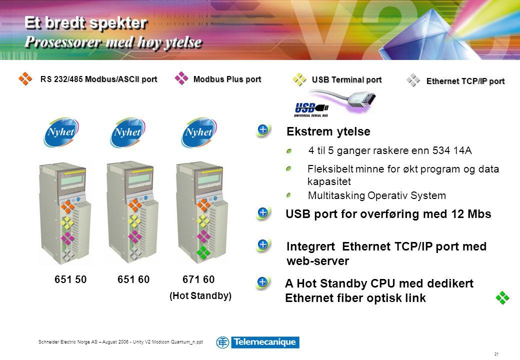 21 Schneider Electric Norge AS – August 2006 - Unity V2 Modicon Quantum_n.ppt Et bredt spekter Prosessorer med høy ytelse (Hot Standby) 671 60651 6065