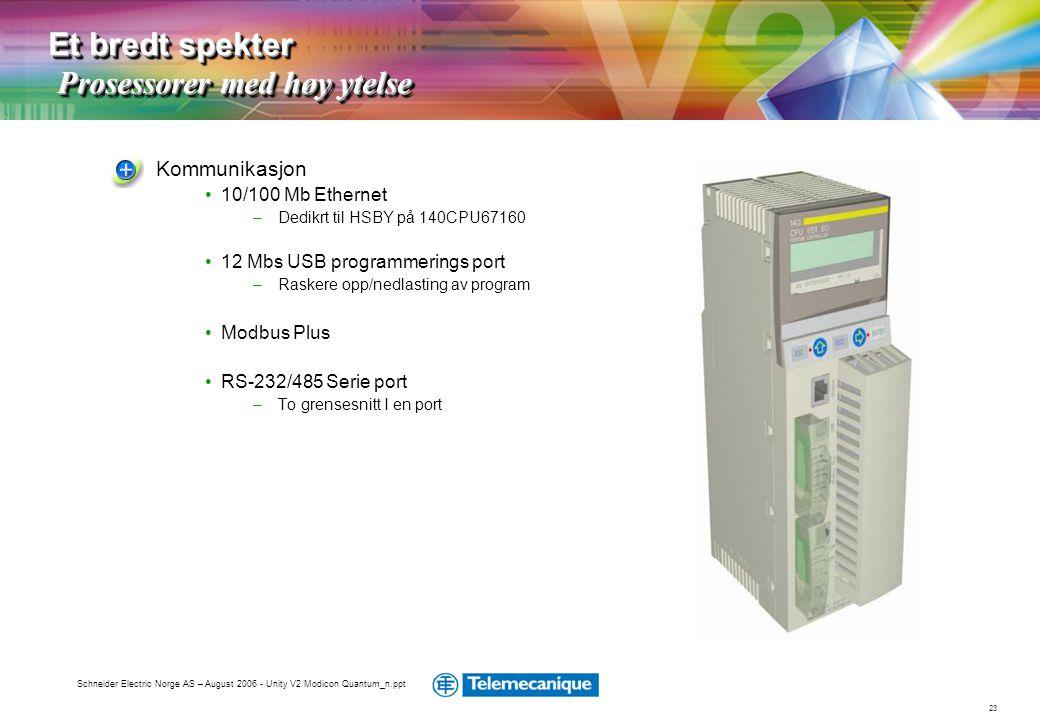 23 Schneider Electric Norge AS – August 2006 - Unity V2 Modicon Quantum_n.ppt Kommunikasjon •10/100 Mb Ethernet –Dedikrt til HSBY på 140CPU67160 •12 M