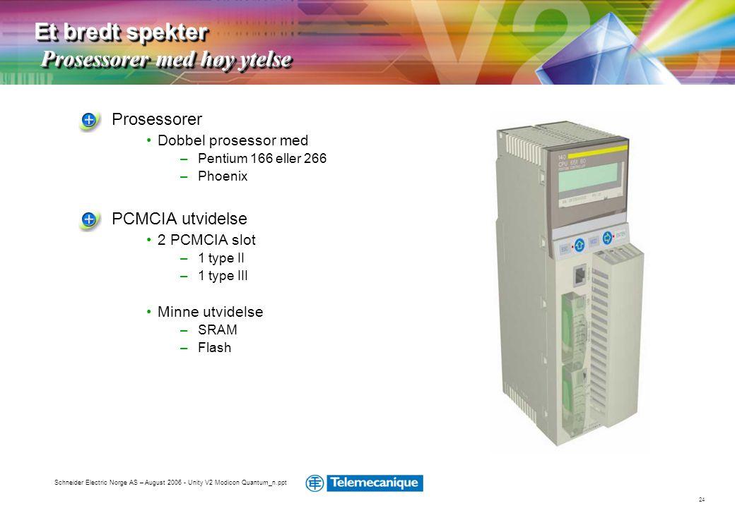 24 Schneider Electric Norge AS – August 2006 - Unity V2 Modicon Quantum_n.ppt Prosessorer •Dobbel prosessor med –Pentium 166 eller 266 –Phoenix PCMCIA