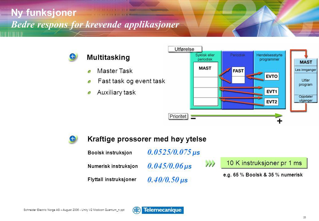 28 Schneider Electric Norge AS – August 2006 - Unity V2 Modicon Quantum_n.ppt Kraftige prossorer med høy ytelse 10 K instruksjoner pr 1 ms Multitaskin