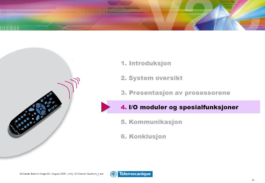 29 Schneider Electric Norge AS – August 2006 - Unity V2 Modicon Quantum_n.ppt 1. Introduksjon 2. System oversikt 3. Presentasjon av prosessorene 4. I/