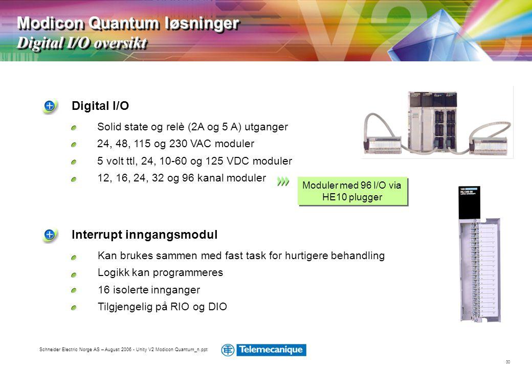 30 Schneider Electric Norge AS – August 2006 - Unity V2 Modicon Quantum_n.ppt Kan brukes sammen med fast task for hurtigere behandling Logikk kan prog