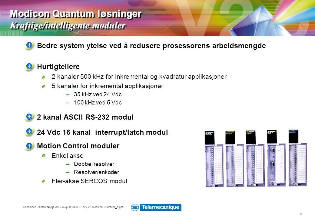 34 Schneider Electric Norge AS – August 2006 - Unity V2 Modicon Quantum_n.ppt Bedre system ytelse ved å redusere prosessorens arbeidsmengde Hurtigtell