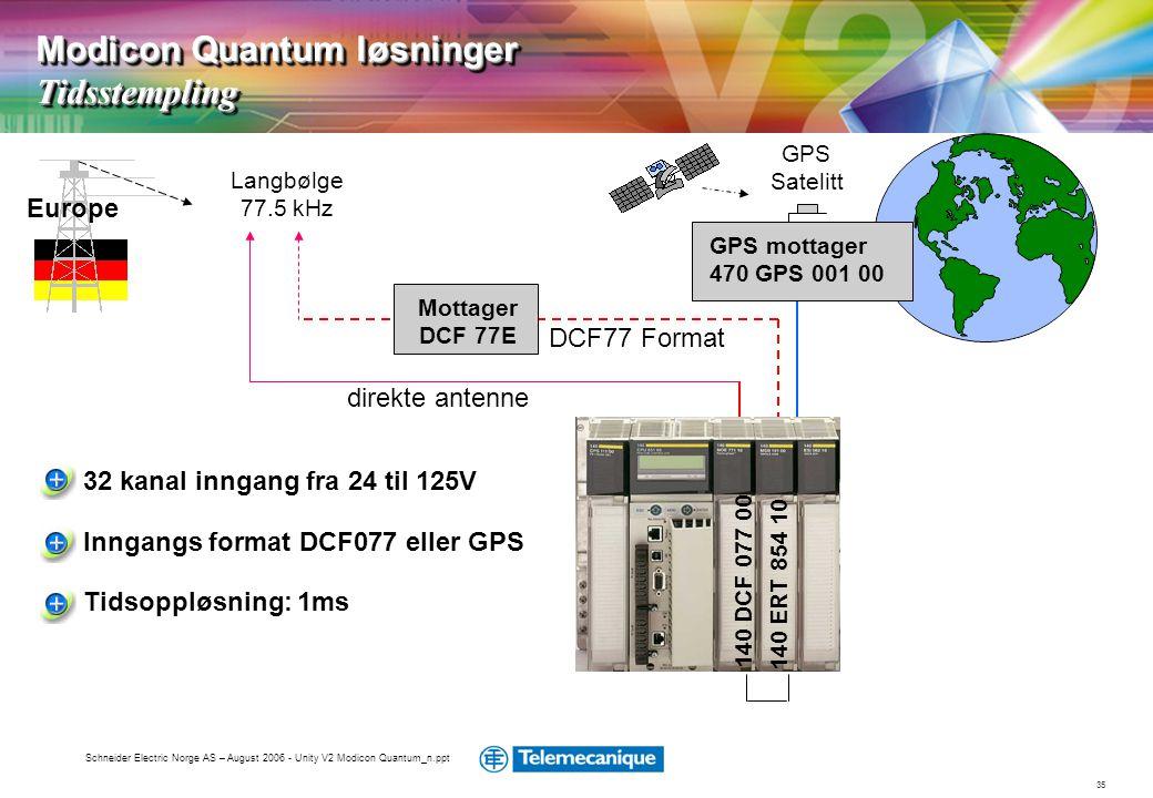 35 Schneider Electric Norge AS – August 2006 - Unity V2 Modicon Quantum_n.ppt Langbølge 77.5 kHz Europe GPS mottager 470 GPS 001 00 GPS Satelitt direk