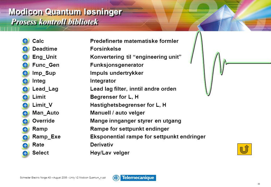 38 Schneider Electric Norge AS – August 2006 - Unity V2 Modicon Quantum_n.ppt Calc Predefinerte matematiske formler Deadtime Forsinkelse Eng_Unit Konv